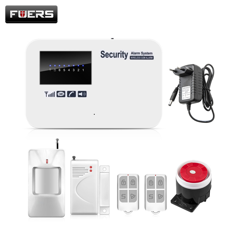 Fuers Alarm Systems Security Home IOS Android APP Control Auto Dial Home Security Smart English Russian GSM Alarm System fuers smart app control wireless wired home gsm sms security alarm system auto dial with infrared detector door open reminder