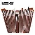Maange 20 unids pinceles de maquillaje de madera conjunto blush fundación delineador de cejas sombra de ojos corrector contorno del polvo pincel plano kit de herramientas