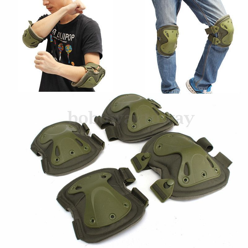 цена на NEW Tactical paintball protection knee pads & elbow pads set Sports Safety Protective Pads Protector Gear Hunting Shooting Pads