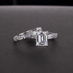 Image 5 - OEVAS 100% 925 en argent Sterling créé Moissanite princesse anneaux ensemble étincelant haute teneur en carbone diamant fête de mariage bijoux fins
