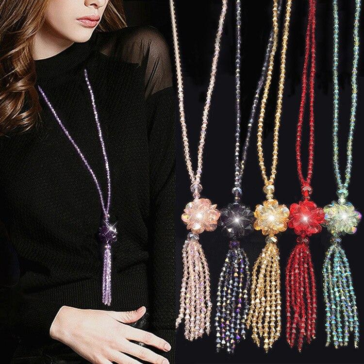 Купить длинное ожерелье с кристаллами женский модный свитер трендовая