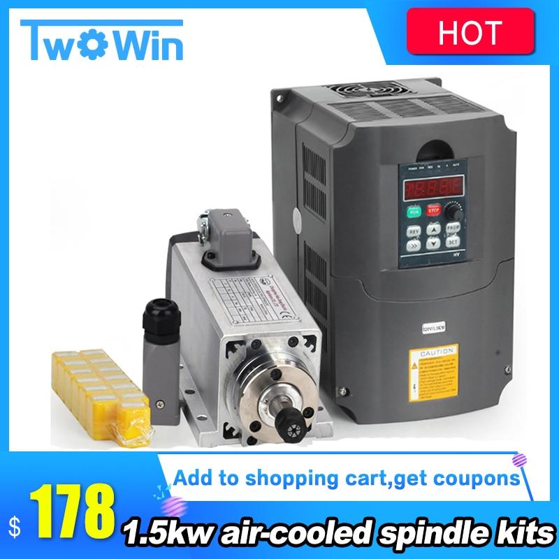 New 1 5kw air cooled spindle motor kit cnc spindle motor 1 5KW 110v 220v inverter