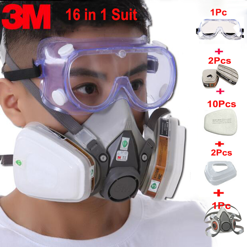 16 In 1 Industry Pesticide3M 6200 Half Face Paint Spraying Gas Mask Respirator With 1621 Chemcial Safety Goggles