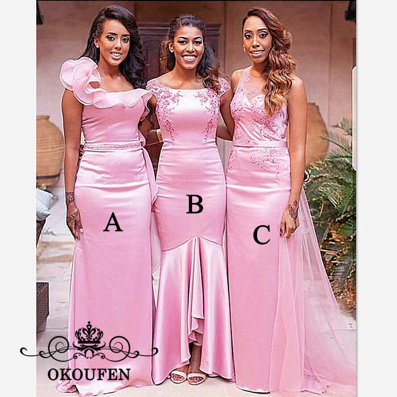 Newest Mermaid   Bridesmaid     Dresses   With Appliques Beads 3 Styles 2019 Pink Stretchy Satin Long Maid Of Honor   Dress   For Women