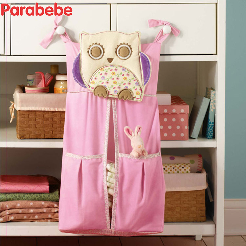Funny Cartoon Giraffe Babg Crib Storage bag Kids Bedding Set Hanging Bags Baby Bedding Baby Bed Room Organizer Pink Owl Design ...