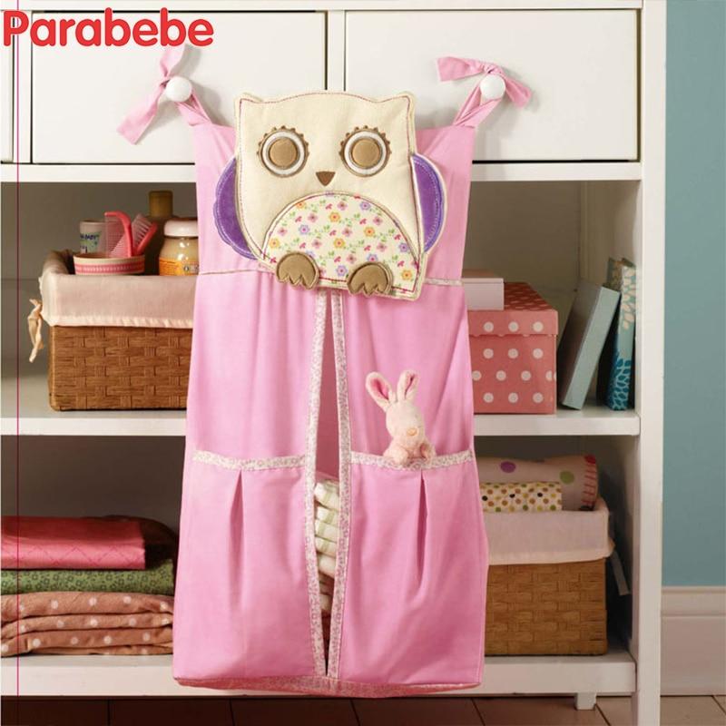 Funny Cartoon Giraffe Babg Crib Storage bag Kids Bedding Set Hanging Bags Baby Bedding Baby Bed Room Organizer Pink Owl Design