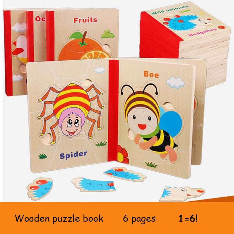 6 sidor trä pussel bok trä material djur frukt 3d pussel leksaker - Spel och pussel - Foto 2