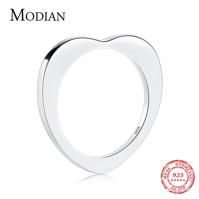 Modian Special Design Hot Real 925 Sterling Silver Heart Fashion Ring Simple Classic