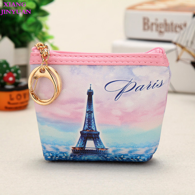 2018 Spring New Eiffel Tower Zero Wallet and Purse Women Trendy Coin Pouch Girls PU Korean Key Holder Cute Kids Cartoon Mini Bag thinkthendo 3 color retro women lady purse zipper small wallet coin key holder case pouch bag new design