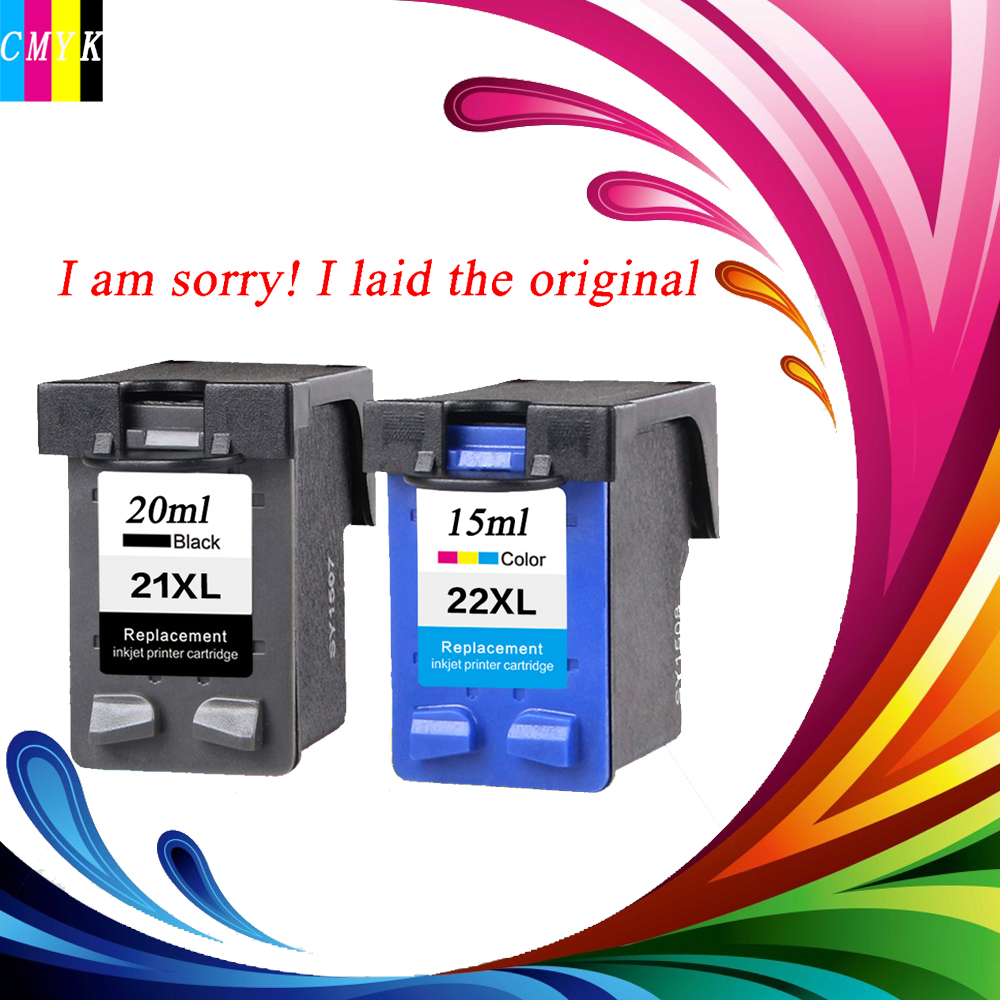 2 Pcs Ink Cartridge for HP 21 22 XL For HP cartridges 21 and 22 for HP Deskjet 3915 D1530 D1320 F2100 F2280 F4100 F4180 printer