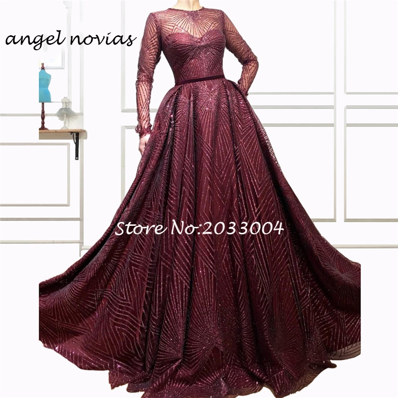 4f09e31f41 Burgundy Muslim Arabic Moroccan Evening Dresses Party Elegant for Women  Long Glitters Dubai Caftans Formal Gowns
