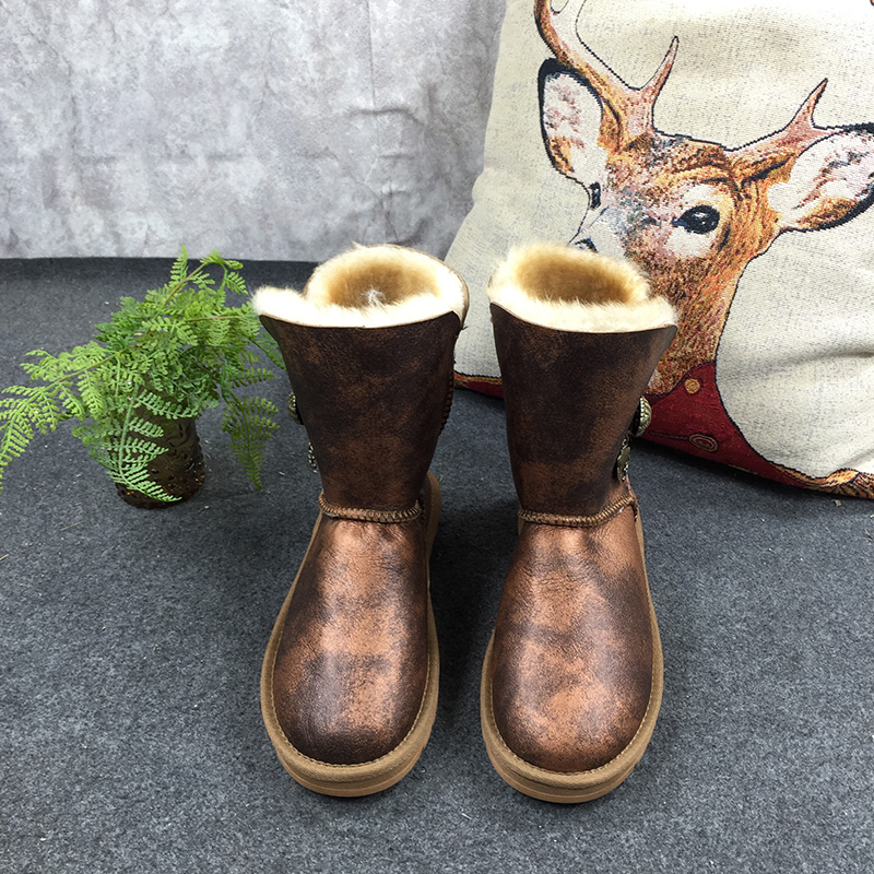 GXLLD Leather fur Body Shoes Snow Boots Fur One Smoke special color Round Toe Flat with Winter Fur Mid-Calf Men Boots 2017 latest men s mid calf boots genuine leather buckle strap round toe men s leather shoes chakku motorcycle boots