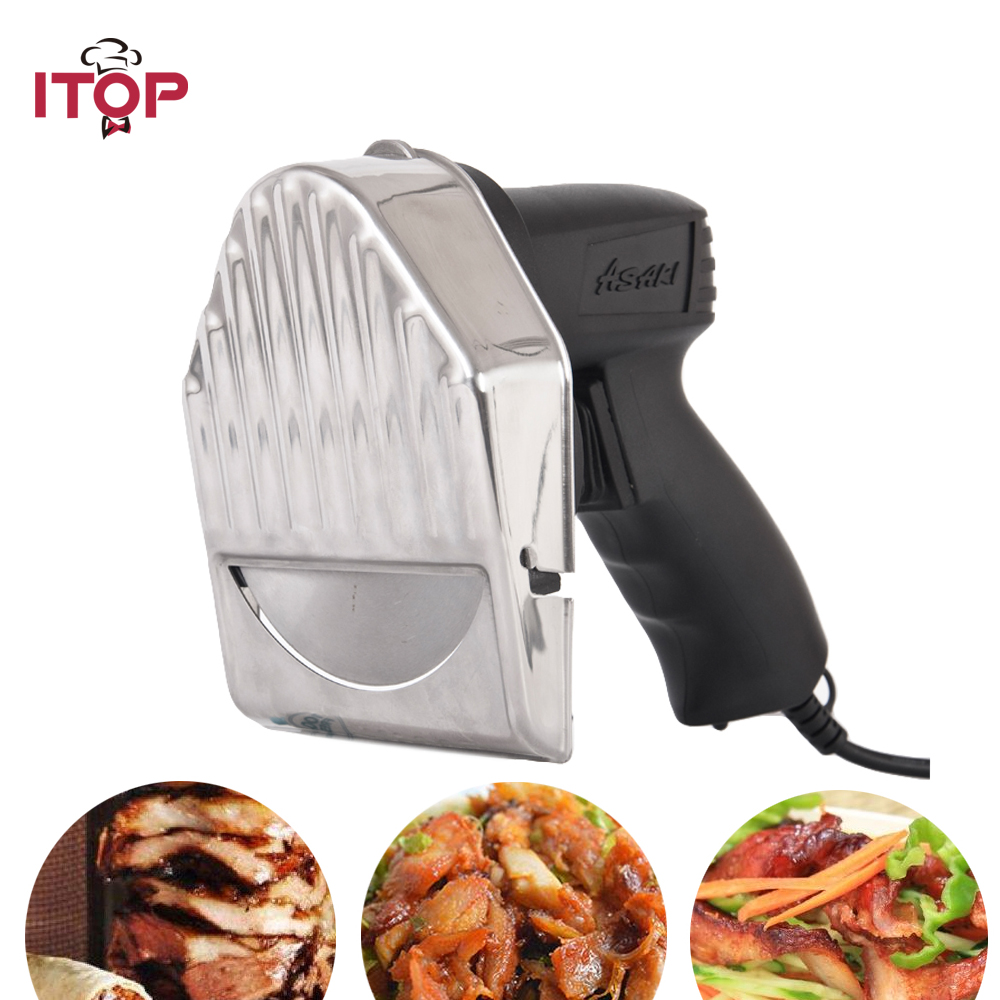 ITOP Kebab Slicer Kitchen Knife Doner Cutter Gyros Meat Cutting Machine itop 10 blade premium meat slicer electric deli cutter home kitchen heavy duty commercial semi automatic meat cutting machine