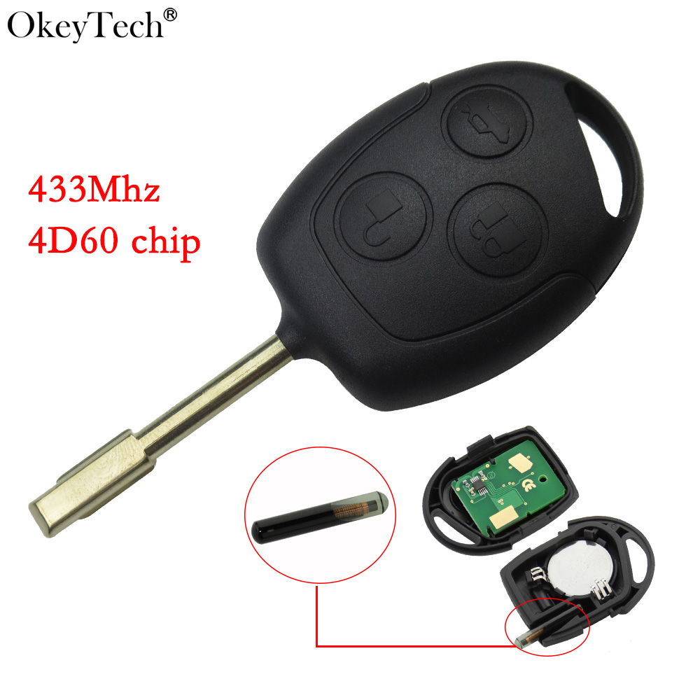 Okeytech Remote Control Car Key Replacement For Ford Mondeo Focus Transit Complete Key Car Remote 433Mhz With 4D60 Glass Chip недорго, оригинальная цена