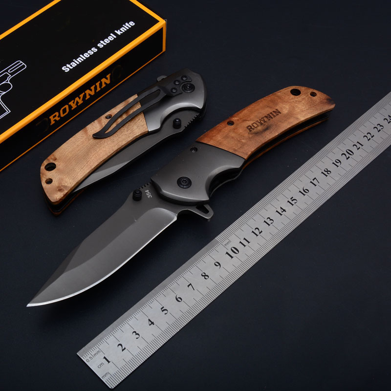 Brown 354 pocket folding knife black steel 440c blade wooden handle outdoor camping hunting tactical knife survival EDC tools