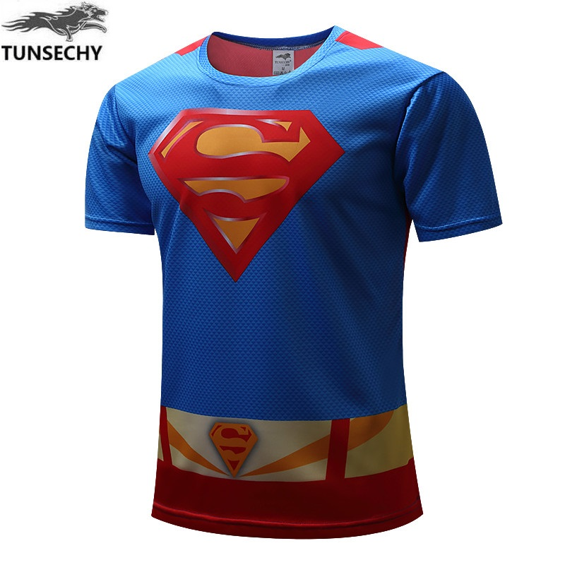 2017 TUNSECHY male superhero batman iron man Short sleeve  T-shirt brand fashion digital printing T-shirt Wholesale and retail