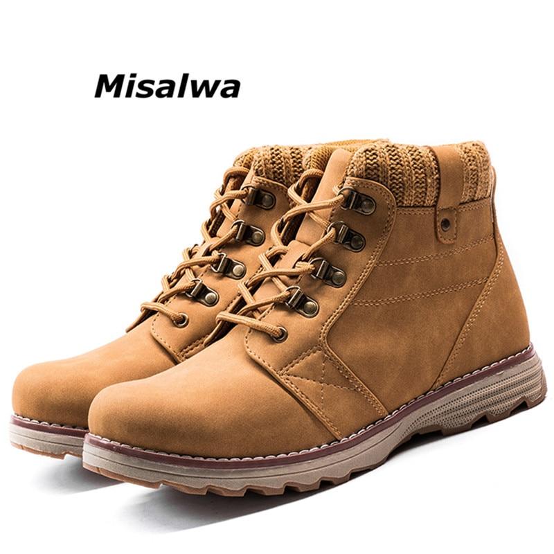 Misalwa Urbain de 2018 Hommes En Cuir Chaud D'hiver Désert Bottes Noir Étanche Dentelle Up Loisirs Cheville Bottes Pour Hommes Sécurité travail Chaussures