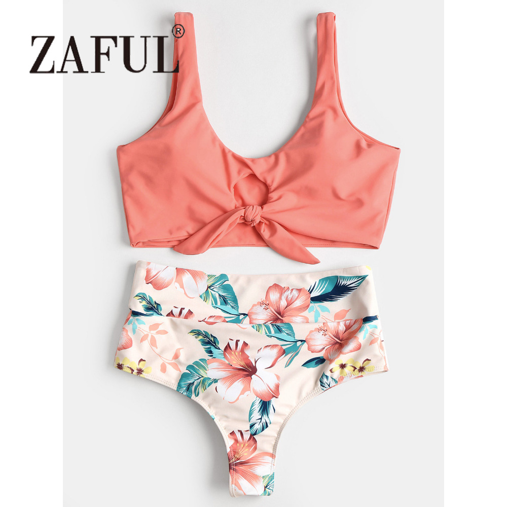 ZAFUL High Waisted Bikini High Rise Knotted Women Swimsuit Floral Scrunch Bikini Swimwear Scoop Neck Padded Biquni Bathing Suit fashionable scoop neck long sleeves floral print sweatshirt for women