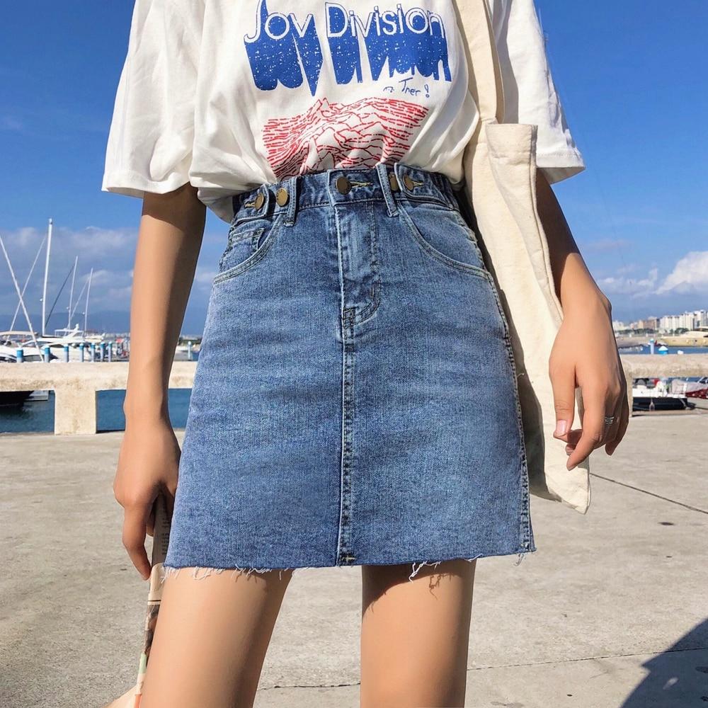 Street Wear High Waist Short Denim Skirt Spring Summer Women ...