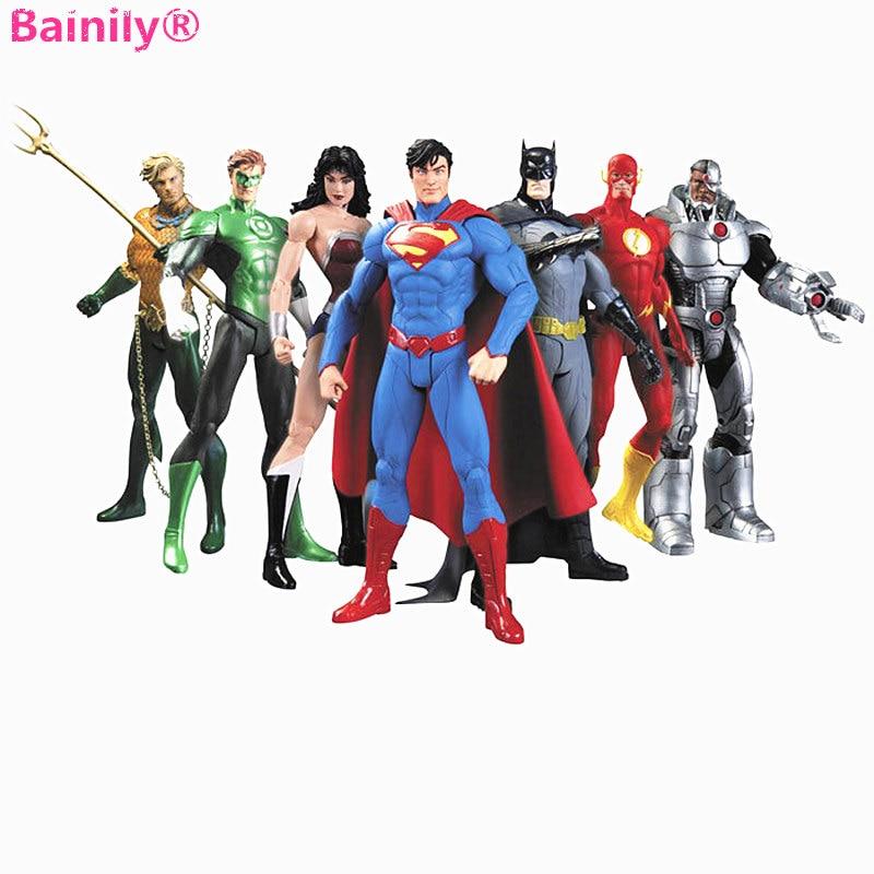 7 шт./компл. 17 см Супергерои Бэтмен Зеленый Фонари вспышки Супермен Wonder Woman Модель Аниме фигурки Детские игрушки Подарки
