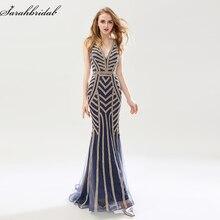 Robe De Soiree новые роскошные стили Элегантное длинное вечернее платье с кристаллами вышитые бисером праздничные платья Формальные реальные фотографии LSX476