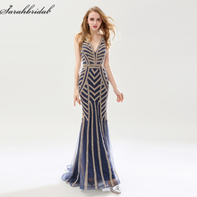 e26246bf83 Robe de Soiree Nuevo estilos de lujo elegante largo sirena Vestidos de noche  2018 Crystal party vestidos formal real fotos LSX47.