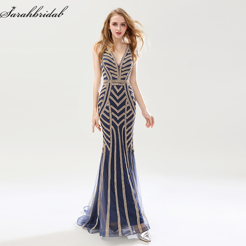 Robe De Soiree New Luxury Styles Elegant Long Mermaid   Evening     Dresses   Crystal Party Gowns Formal Real Photos LSX476