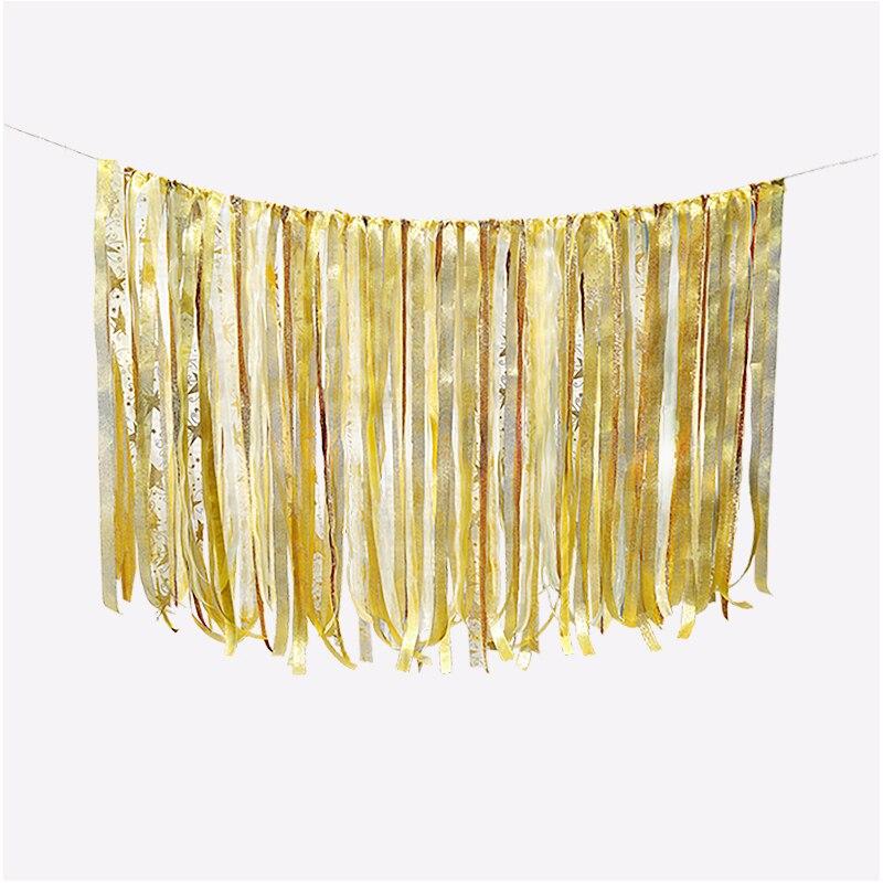 0,75 M DIY Sparkling Gold Stříbrný Stuha Pozadí Svatební Narozeniny Party Dekorace Fotografie Pozadí