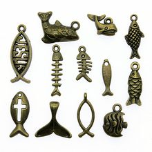 Charms Fish Vintage Antique Bronze Plated Small Fish Charms Pendants For Bracelets Jesus Fish Charms(China)