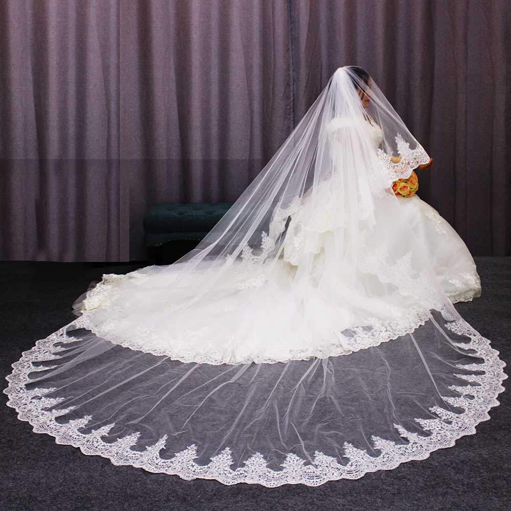 Luxury Sparkling Lace Cathedral Bridal Veil 2 T Long 3 Meters White Ivory Tulle with Comb