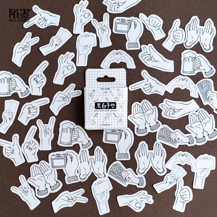 45Pcs/set Black White Gesture Paper Stickers Flakes Vintage Romantic For Diary Decoration Diy Scrapbooking Stationery Sticker