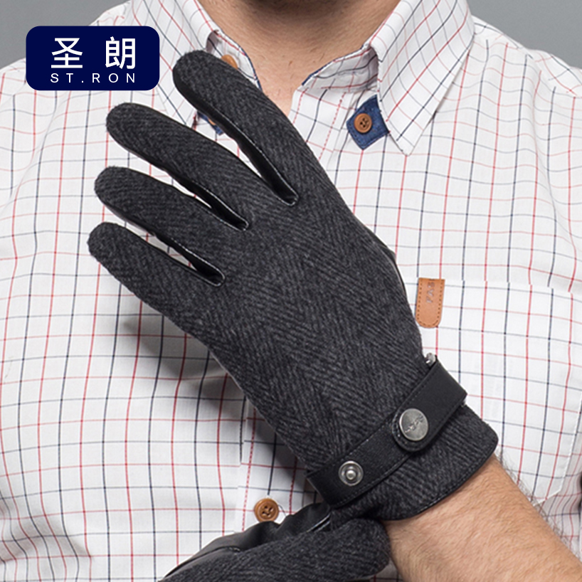 Sheepskin Gloves Male Autumn Winter Thicken Keep Warm Men Genuine Leather Gloves Five Fingers Hand Back Wool Cloth ST6107 in Men 39 s Gloves from Apparel Accessories