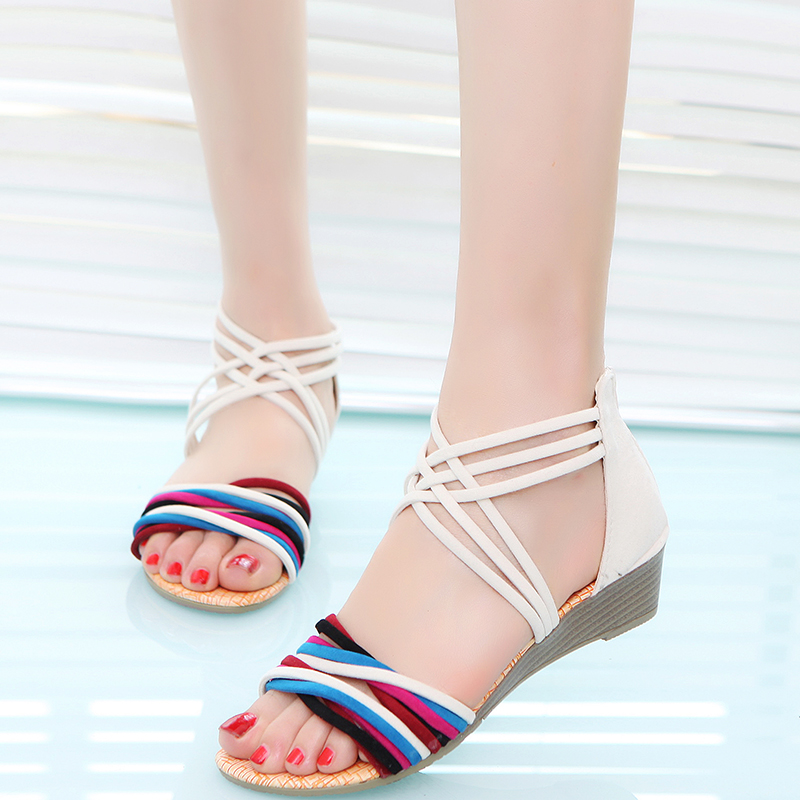Women Sandals Summer New Vintage Style Gladiator Platform Wedges Shoes Woman Beach Flip Flops Bohemia Sandal casual wedges sandals 2017 summer beach women shoes platform flip flops print sandal comfort creepers shoes woman