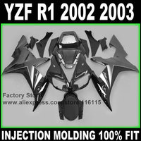 100% Full injection fairings kit for YAMAHA 2002 YZF R1 2003 R1 02 03 black gun gray factory fairing sets