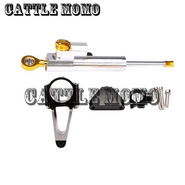 CNC Motorcycle Steering Damper Complete Set For Honda CBR600 F4I 2001 2002 2003 04-2007 Motorcycle Bracket kits Steering Damper cnc steering damper complete set for kawasaki zx6r 636 2007 2008 w bracket kits