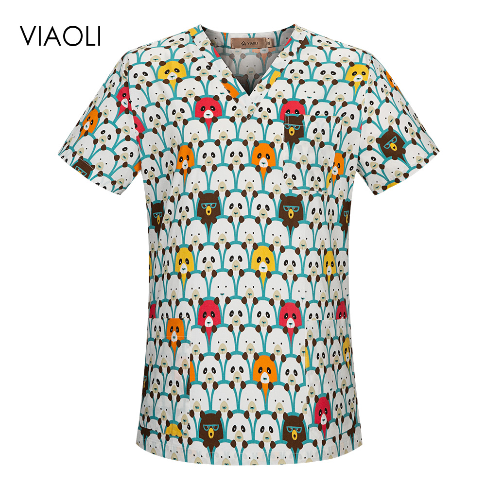 V-neck Breathable Dental Clinic Scrubs Tops Cartoon Printing Pet Doctor Uniforms Hospital Nursing Scrubs Tops Medical Workwear