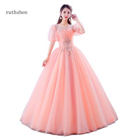 ruthshen Princess Puff Sleeve Quinceanera Dresses Candy Color Sweet 16 Dresses Ball Gown Vestido Debutante Prom Dresses 2019 New