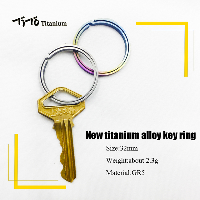 TiTo titanium alloy EDC keychain outdoor portable keyring circle quickdraw tool high strength and lightweight 32mm