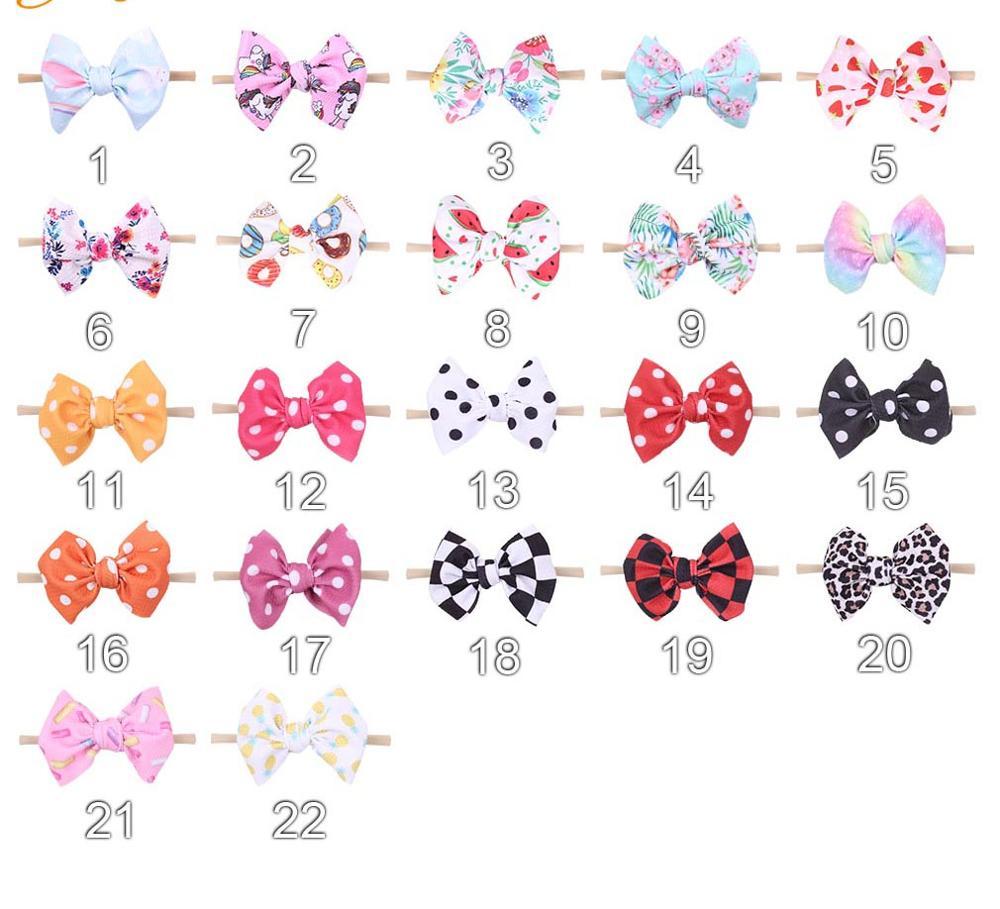 36pc lot Newborn Unicorn Floral Print Hair Bow Nylon Headbands Ribbon Color Hair Bows Nylon Headbands
