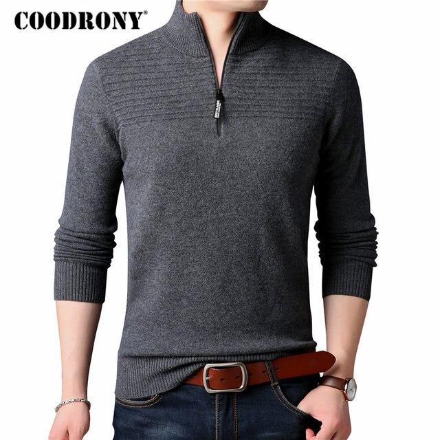 b5bec12996d49f COODRONY Merino Wool Sweater Men Classic Casual Zipper Turtleneck Pullover  Men Winter Thick Warm Cashmere Sweaters Knitwear 8312
