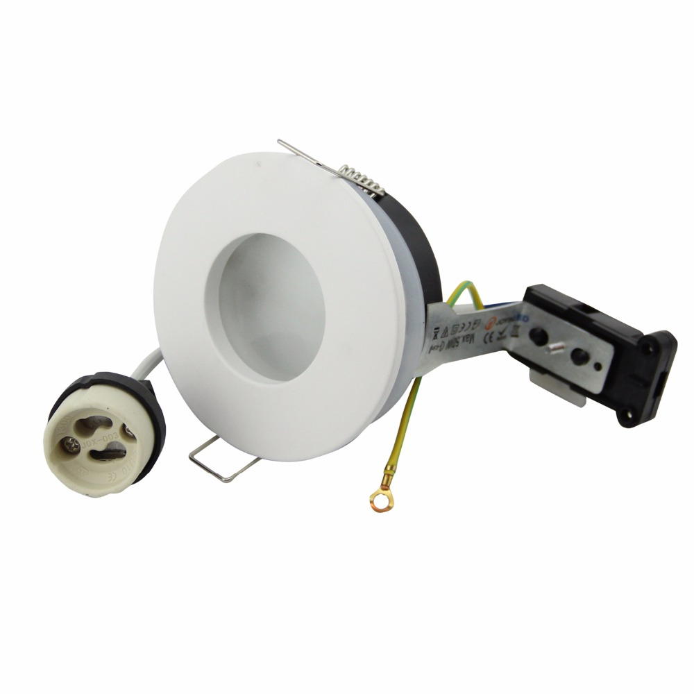 цена Free shipping Zinc Alloy IP65 Recessed Round Spotlight IP65 230V GU10 Socket Holder for 50mm LED and Halogen Bulbs