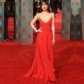 Robe de soirée Vestidos de Celebridades Vermelho Sexy Profundo Decote em V Prom vestidos Longos de Noite Vestido Fora Do Ombro vestido de festa Gratuito grátis