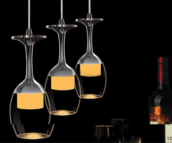 LED dining room pendant  glass wine bottom lamps crystal modern simple bar rrestaurant hotel 1/3/6heads lamps Pendant Light free shipping 3 lights dining room glass pendant light tready wine cup crystal pendant lamp led lamps bar kitchen glass light