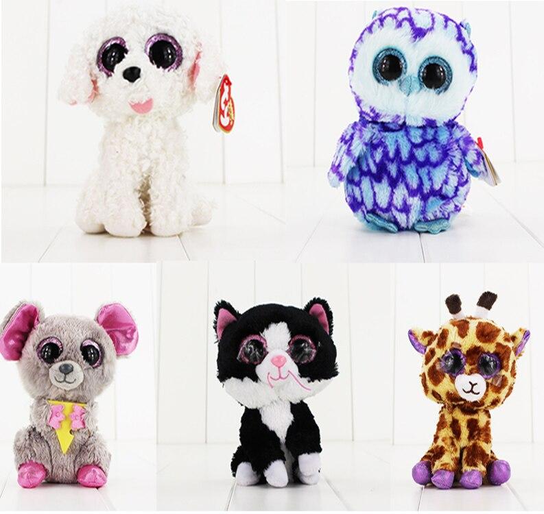 5styles 15cm Ty Beanie Boos Plush Toys Beanie Babies Big Eyes Purple Penguin Gray Koala White Dog Black Cat Giraffe Animal Doll clash royale baby dragon plush