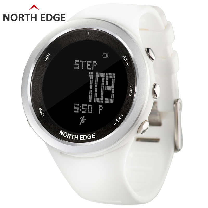 Women sport watch white smart watches for woman outdoor running sports Altimeter Barometer Compass hiking hours NORTH EDGE