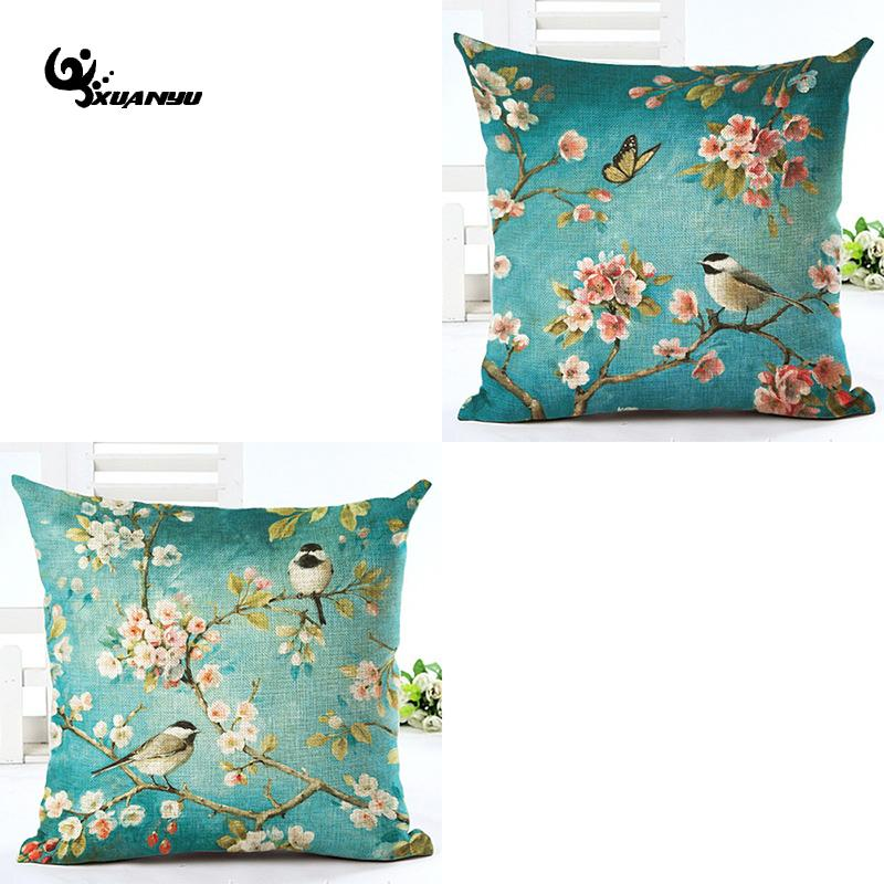 Pillowcase Peach Blossom Birds Cushion Cover Pillow Case Pillowcase For Sofa Home Decor F