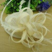 Haute qualité ivoire, balck, rouge derby fascinators chapeau élégant dames église cocktail chapeaux avec fantaisie plume de mariage chapeaux FS119