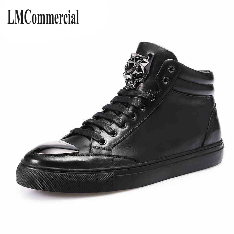 Free shipping  2017 new  men's casual leather shoes behalf of a metal head men's boots breathable sneaker fashion