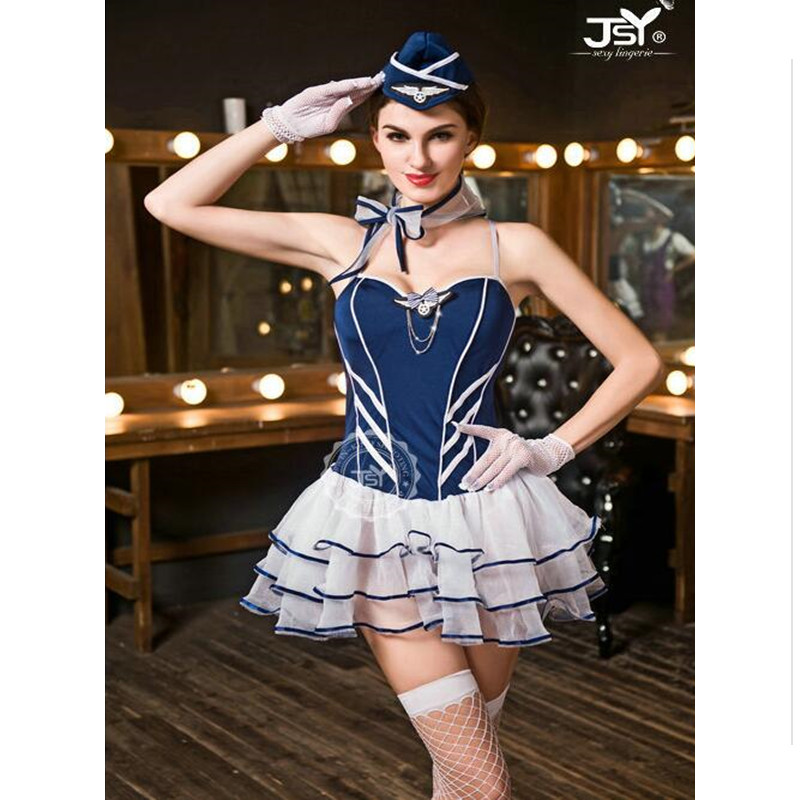 Women Sexy Air Hostess Cosplay Sexy Flight Attendant Costume Air Hostess Dress Outfits Sexy Airline Stewardess Costumes 9606 image