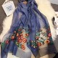 Luna&DolphinFashion Bandana Luxury Scarve Women Brand Begon Flower Embroidery Pure Silk Pure Wool Scarf Women Shawl High Quality